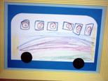 バスのいろがカラフルにかけたの。みんなでバスにのっているの。